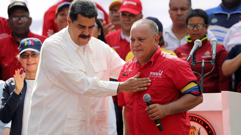 Diosdado Cabello, junto a Nicolás Maduro, en un mitin de marzo de 2019 en Caracas. (Reuters)