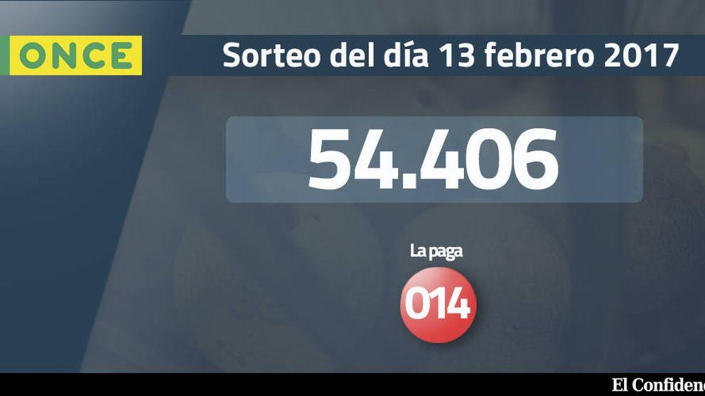 Resultados del sorteo de la ONCE del 13 febrero 2017: número 54.406