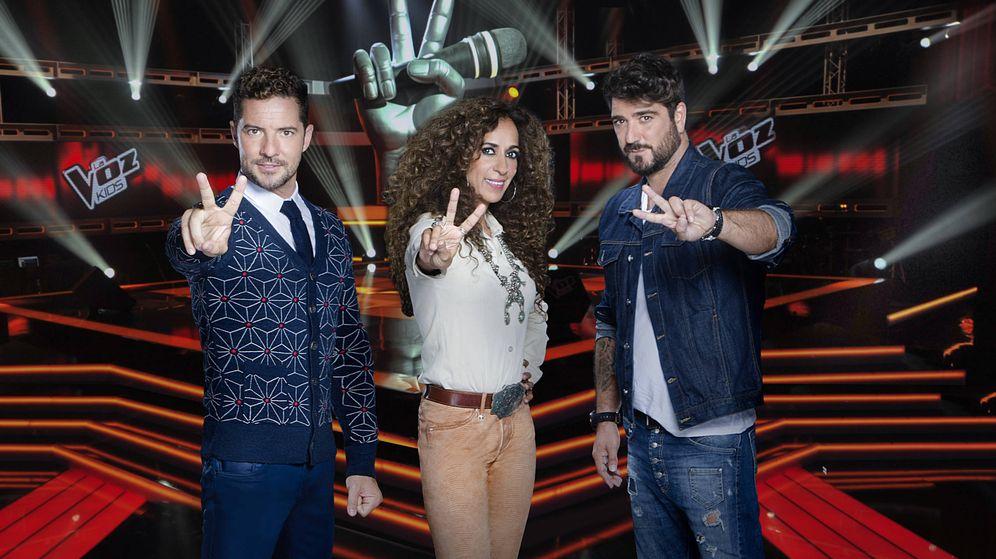 Foto: David Bisbal, Rosario Flores y Antonio Orozco, coaches de 'La Voz Kids'. (Mediaset)