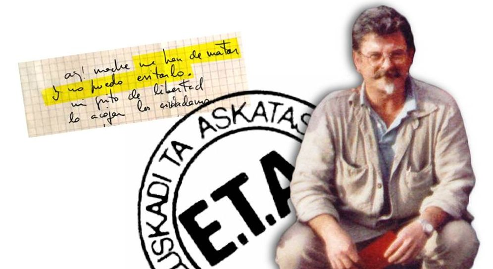 Foto: Imagen de Joseba Pagazaurtundua con uno de sus escritos en los que vaticinaba su muerte.