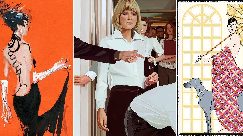 De izda. a dcha.: ilustraciones de David Downton, Inés Maestre o Jordi Labanda. (Cortesía)