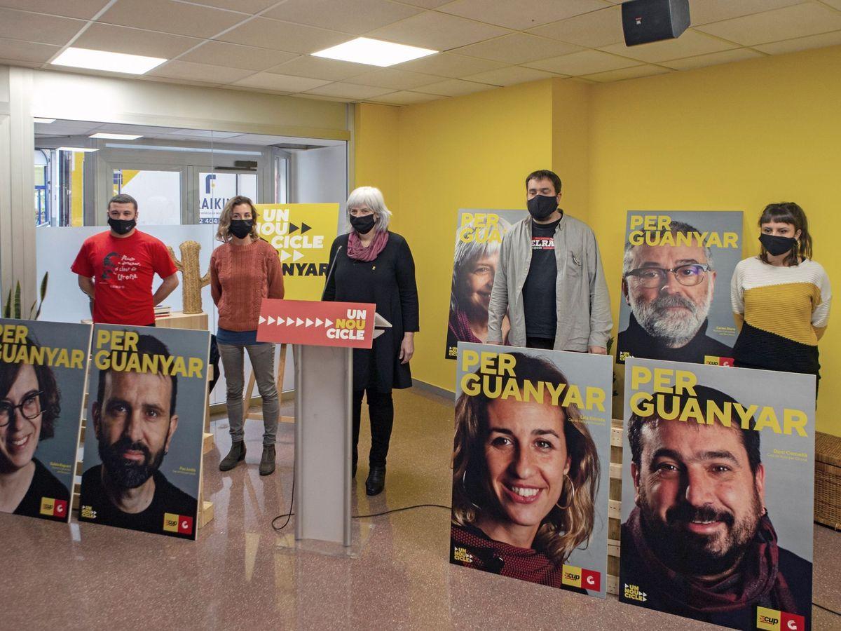 """Foto: Presentación del lema de campaña de la CUP: """"Per guanyar"""" (""""para ganar""""). (EFE)"""