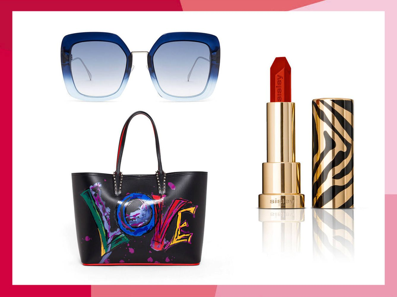 Gafas de Fendi, Tote de Christian Louboutin y y labial en tono Miami de Le Phyto Rouge.