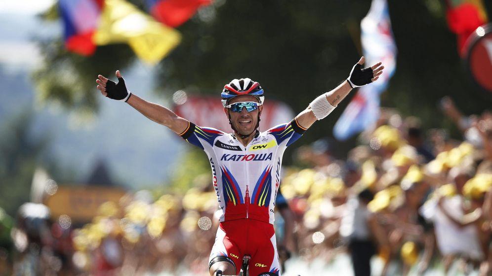 Foto: Purito celebra su victoria en la tercera etapa del Tour (Efe).