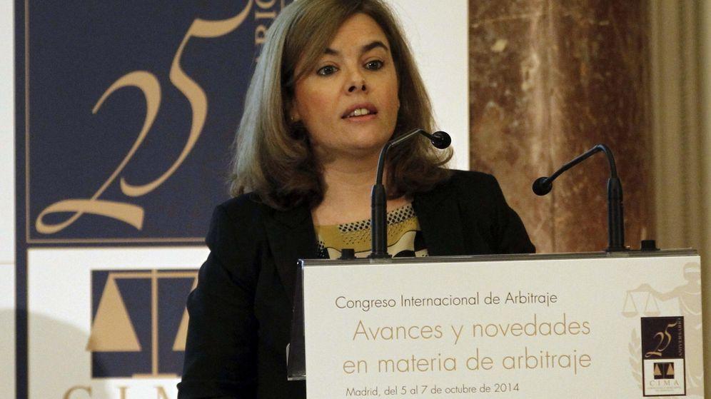 Foto: Soraya Sáenz de Santamaría, durante su discurso de inauguración del congreso de la Corte Civil y Mercantil de Arbitraje. (EFE)
