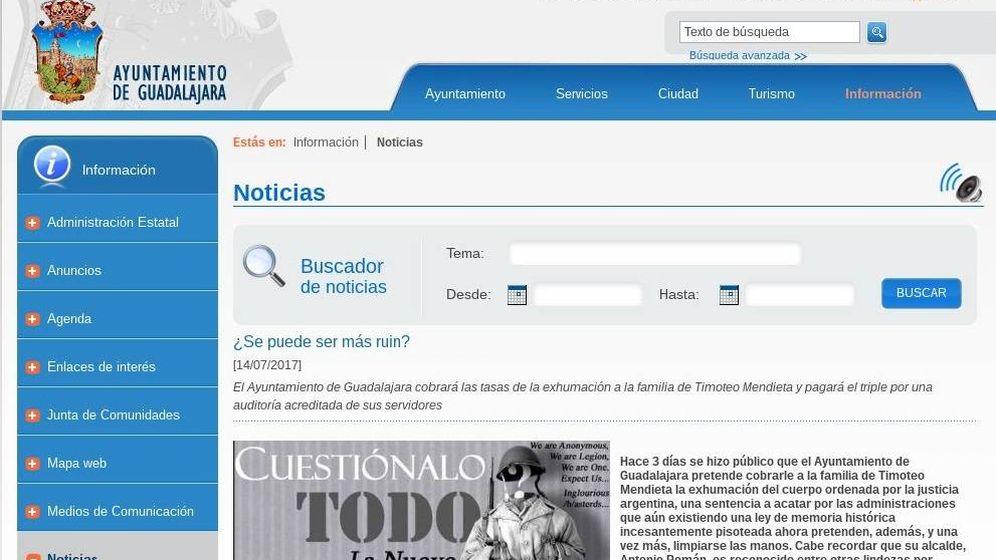 Foto: La página web del Ayuntamiento de Guadalajara ''hackeada''.