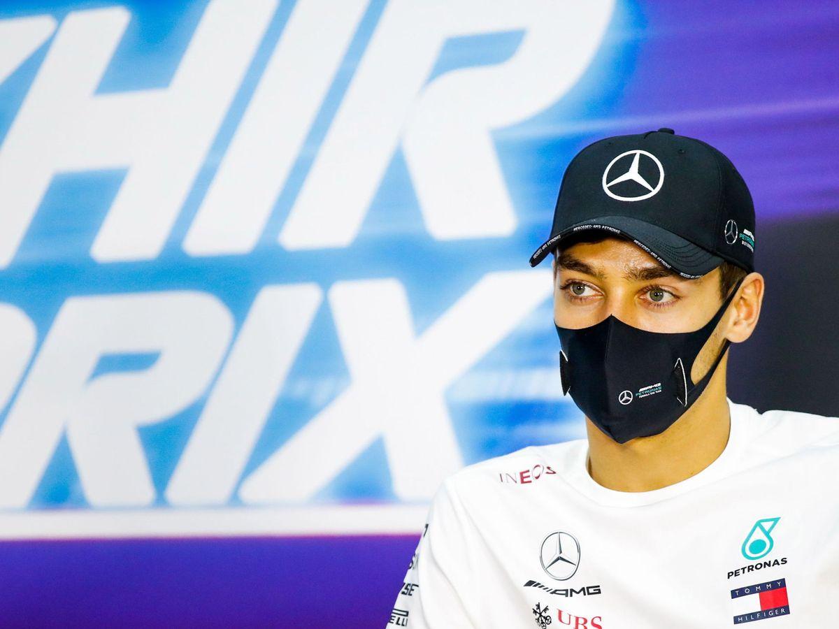 Foto: George Russell, en su primera rueda de prensa con Mercedes (EFE)
