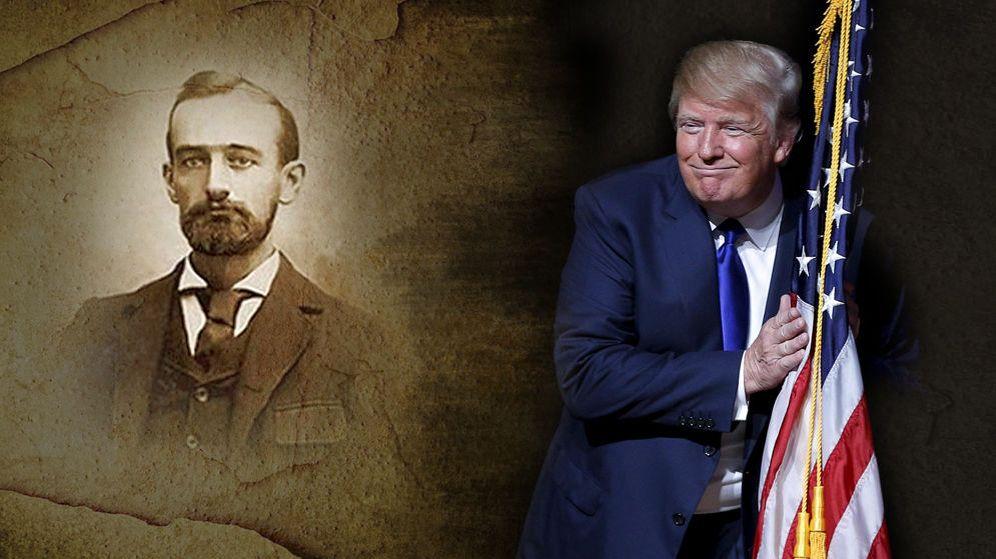 Foto: El candidato a la nominación republicana Donald Trump junto a una fotografía de su abuelo.