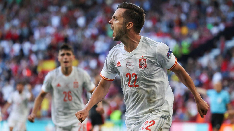 Pablo Sarabia celebra el gol del empate contra Croacia. (EFE)
