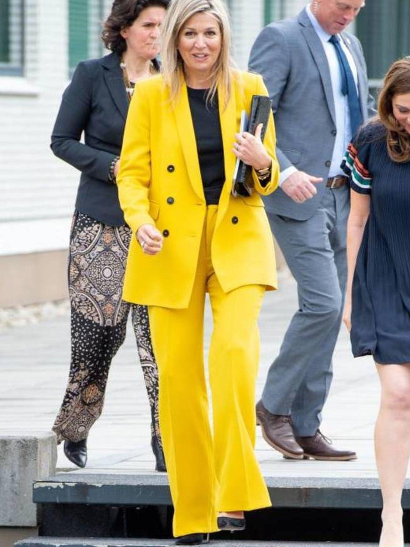 Máxima de Holanda en 2019 con el traje de Zara. (Cordon Press)
