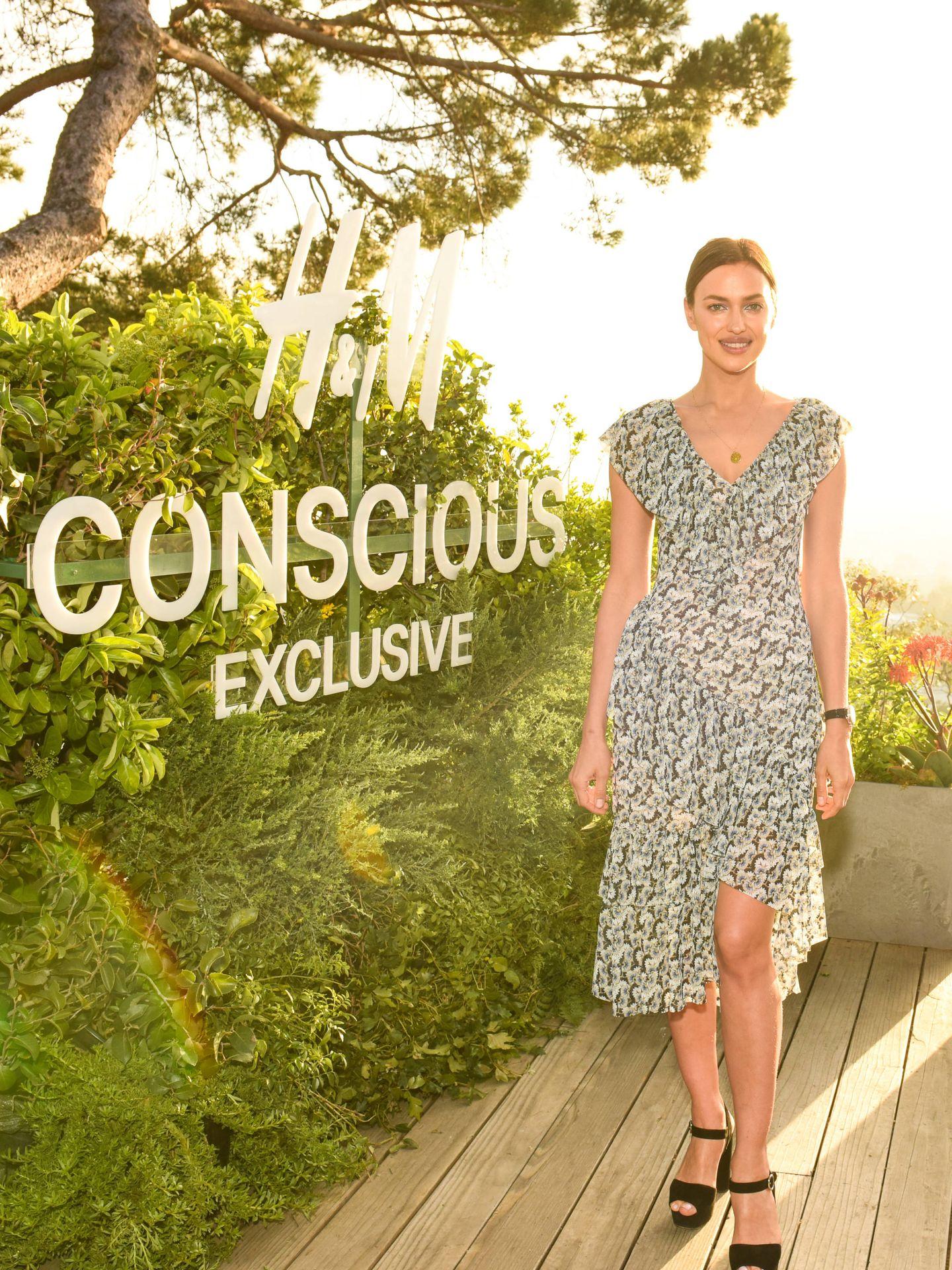 Irina posando en la presentación de la colección sostenible de H&M.