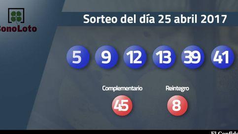 Resultados del sorteo de la Bonoloto del 25 abril 2017: números 5, 9, 12, 13, 39, 41