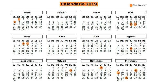 Calendario Madrid 2019.Calendario Laboral 2019 De Madrid Los Doce Festivos Y Puentes De La