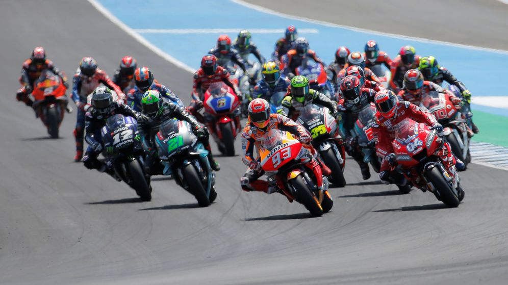 Foto: Los pilotos de MotoGP, en el circuito de Jerez la temporada pasada. (EFE)