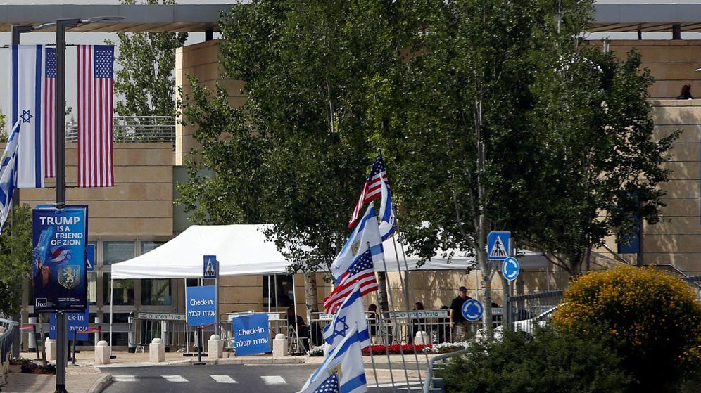 Foto: Entrada de la nueva Embajada de Estados Unidos en Israel, recién trasladada de Israel a Jerusalén | Reuters