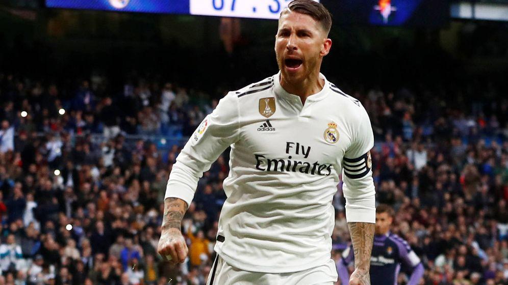 Foto: Sergio Ramos celebra su gol ante el Valladolid el pasado sábado. (Reuters)