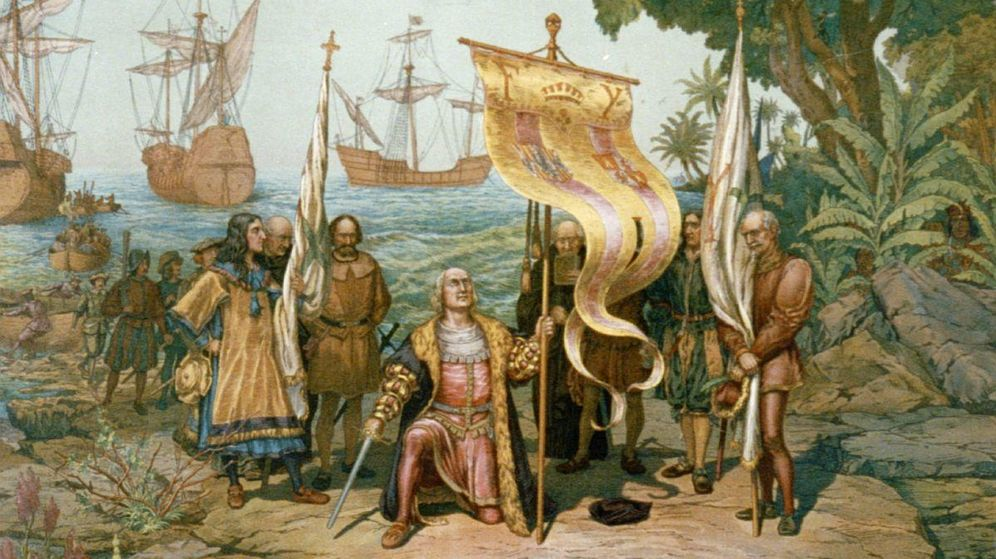 Foto: La expedición de Colón en su llegada a La Española.