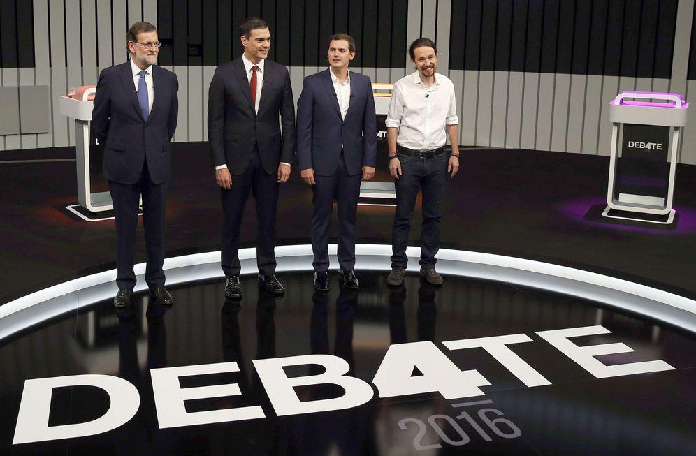 Foto: Mariano Rajoy, Pedro Sánchez, Albert Rivera y Pablo Iglesias en el debate a cuatro del pasado 13 de junio. (EFE)