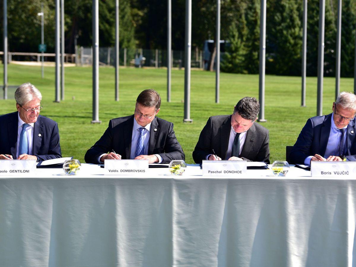 Foto: Reunión del Eurogrupo en Brdo Pri Kranju (Eslovenia). (EFE)