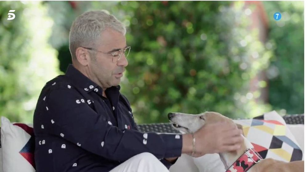Foto: Jorge Javier Vázquez, con su galgo Travis. (Mediaset)