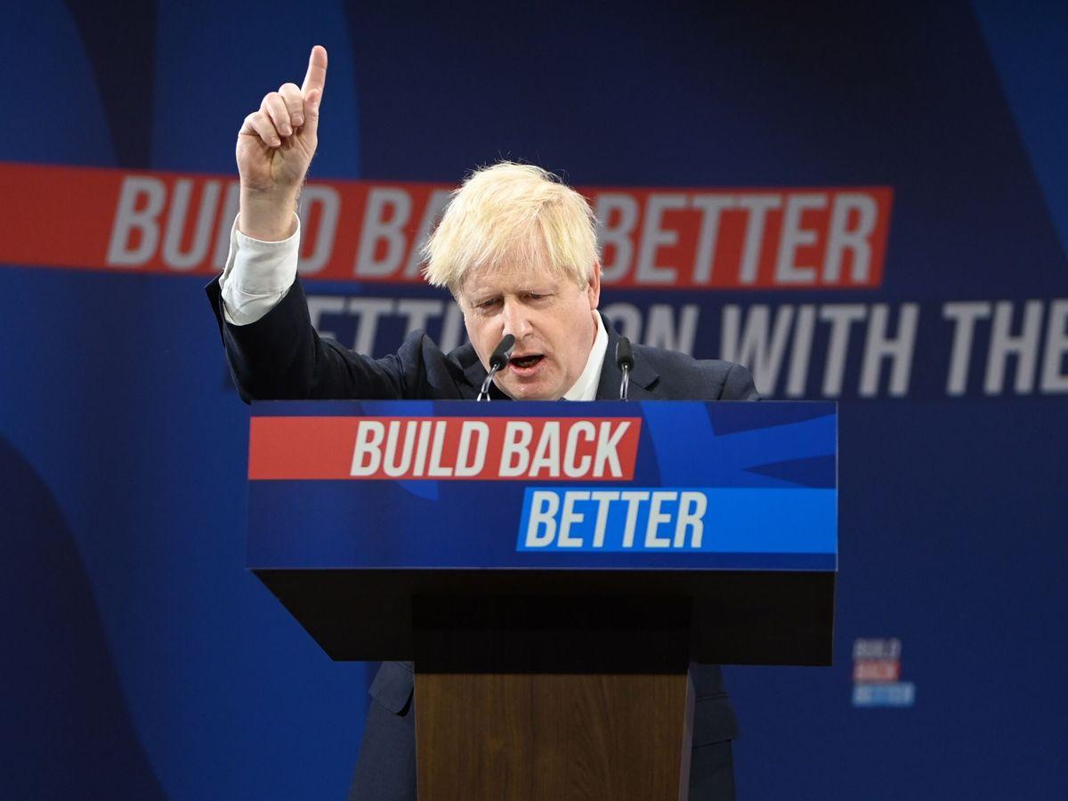 Foto: Boris Johnson, durante la Convención del Partido Conservador en Mánchester. (EFE)