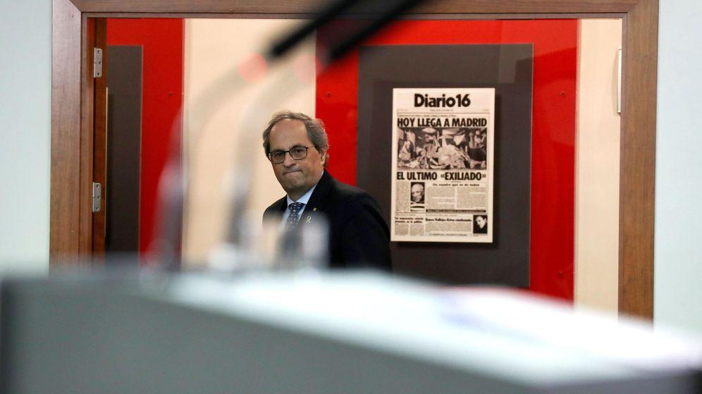 Foto: Imagen de archivo de Quim Torra en el Palacio de la Moncloa tras la reunión del Govern con el Gobierno central del pasado 26 de febrero. (EFE)