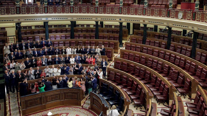 Grada del PSOE durante la moción de censura.