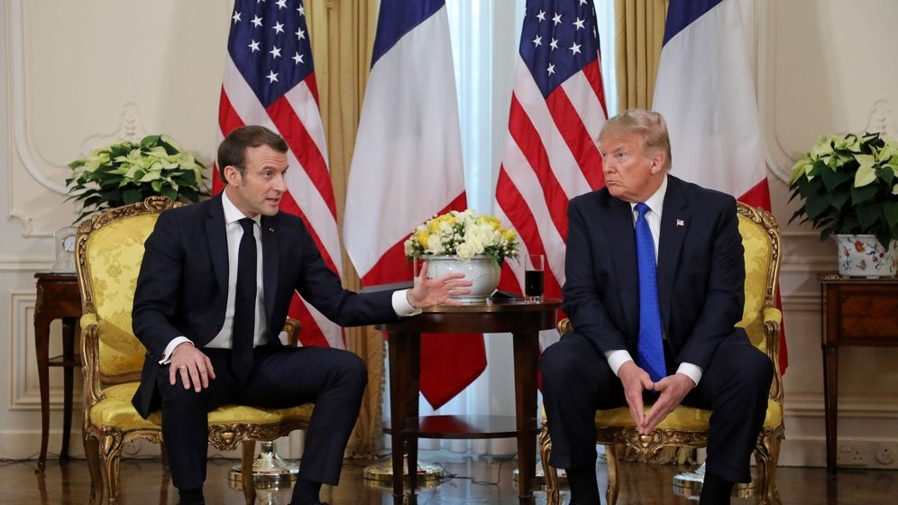 Foto: El presidente de Francia, Emmanuel Macron, junto a su homólogo de EEUU, Donald Trump, en Londres. (Reuters)