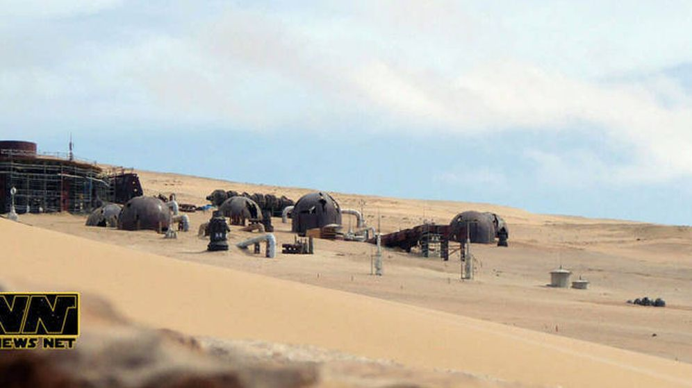 Foto: Aspecto del 'set' de rodaje de 'Star Wars' en Fuerteventura. (StarWarsNet)