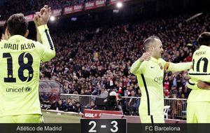 El Atlético termina hundido y con nueve ante un Barça que fue mejor