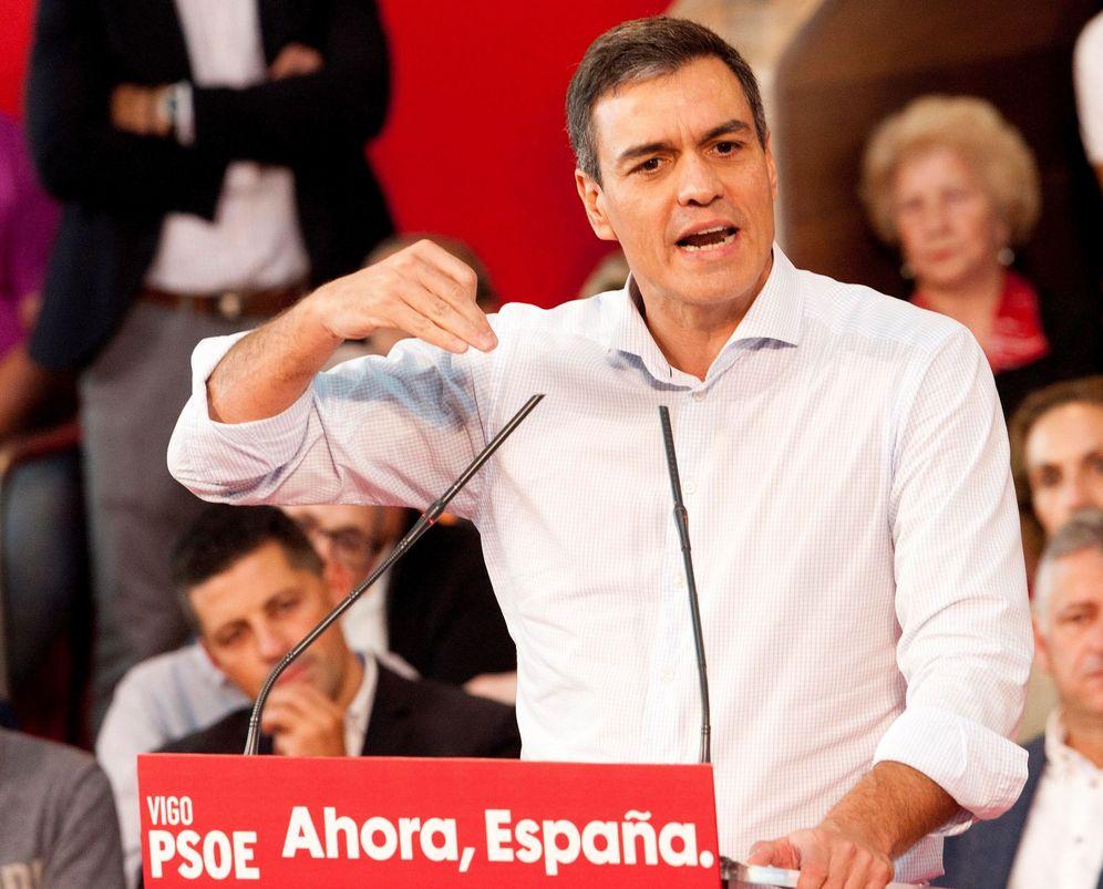 Foto: El presidente del Gobierno en funciones, Pedro Sánchez, en Vigo, este 5 de octubre. (EFE)
