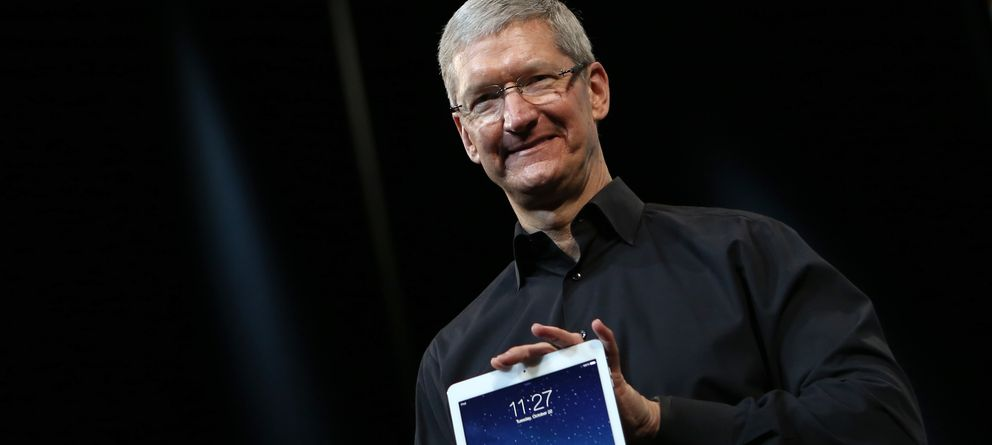 Foto: Tim Cook, CEO de Apple, en un momento de la 'keynote'