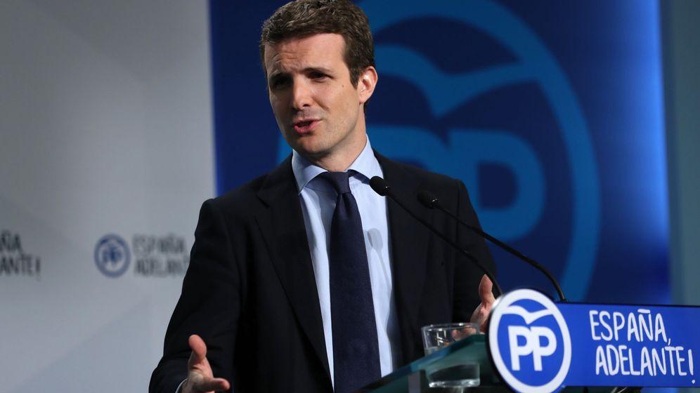 Foto: El vicesecretario de Comunicación del Partido Popular, Pablo Casado,durante la rueda de prensa. (EFE)