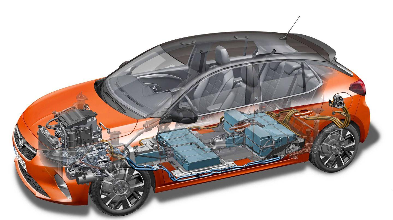 Radiografía del Opel Corsa-e donde se aprecia dónde se sitúan las baterías.