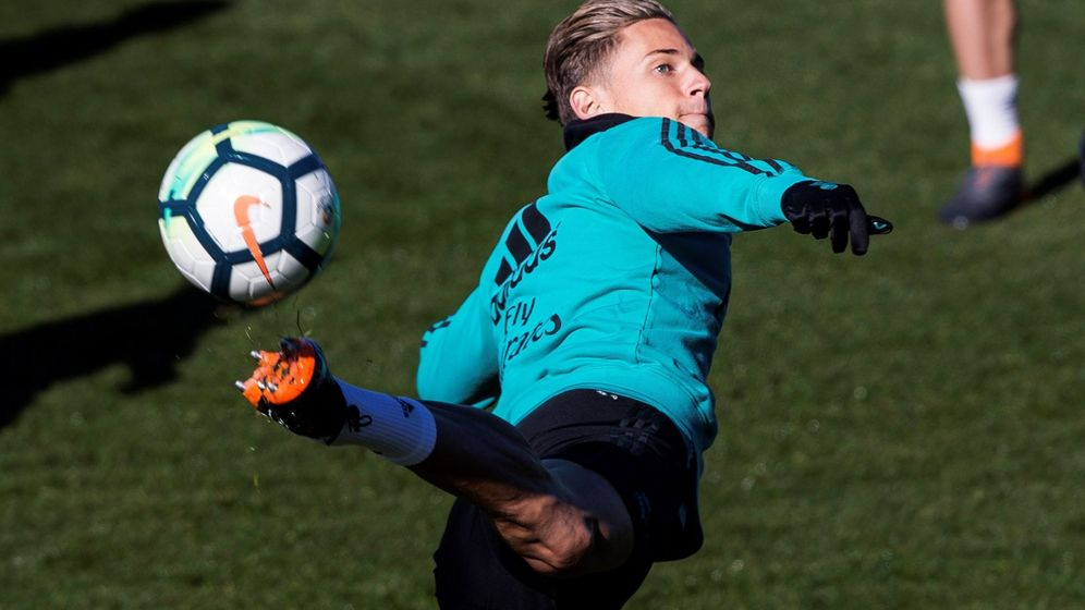 Foto: Marcos Llorente, en un entrenamiento con el Real Madrid. (EFE)