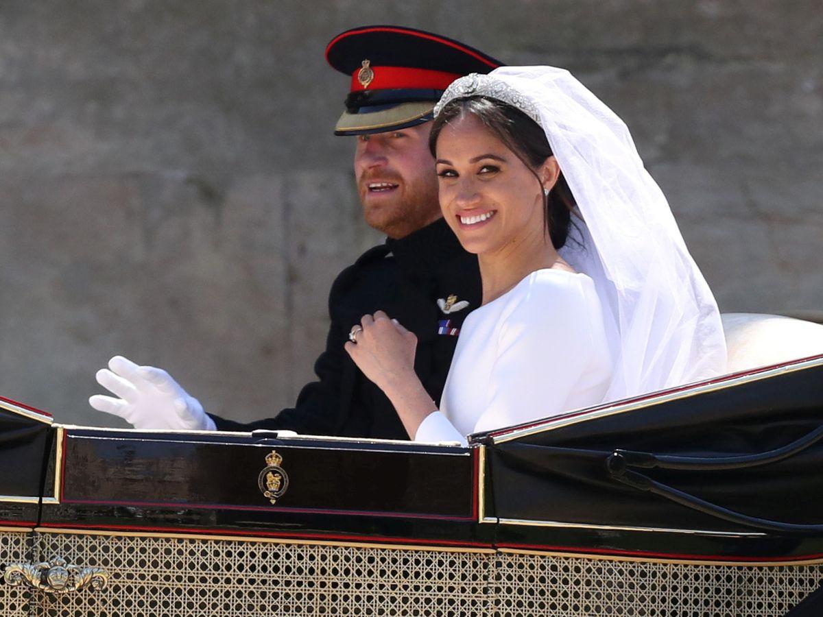 Foto: Meghan Markle y el príncipe Harry el día de su boda. (Reuters)