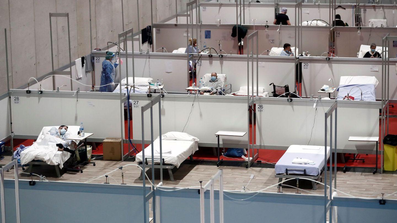 Interior del hospital de campaña provisional instalado en Ifema, el pasado 23 de abril. (EFE)