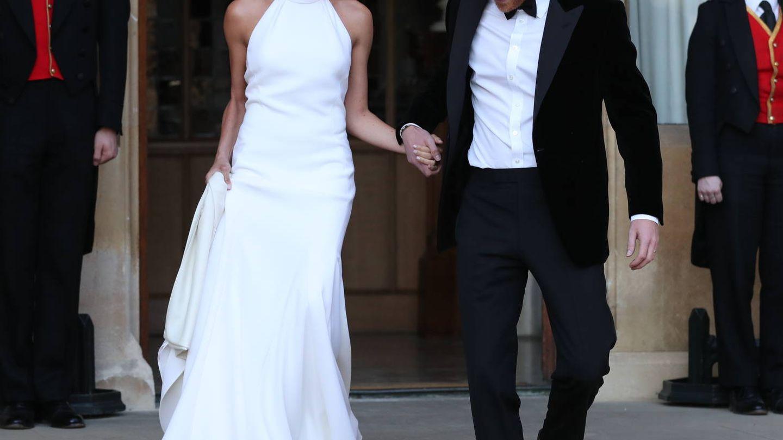 Los duques de Sussex rumbo a su segunda celebración de boda. (Getty)