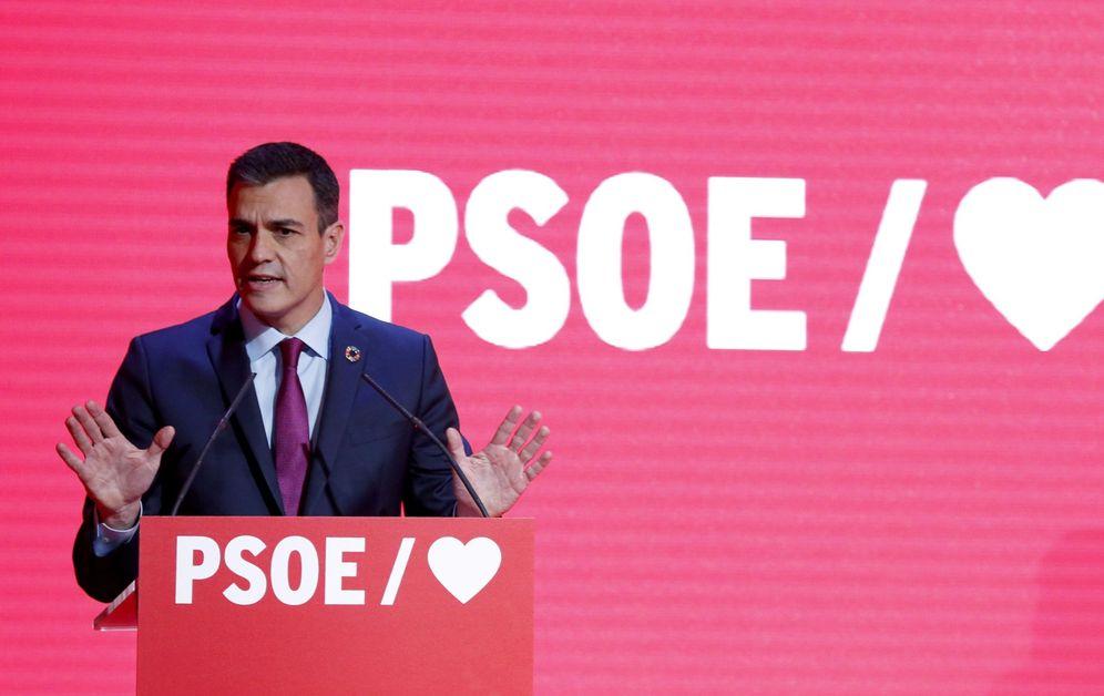 Foto: Pedro Sánchez, este 19 de febrero en el acto de arranque de precampaña de las generales, en Madrid. (EFE)