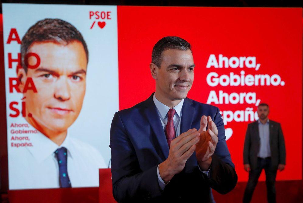 Foto: Pedro Sánchez, este 28 de octubre en la presentación de su lema de campaña, 'Ahora sí', en Madrid. (EFE)