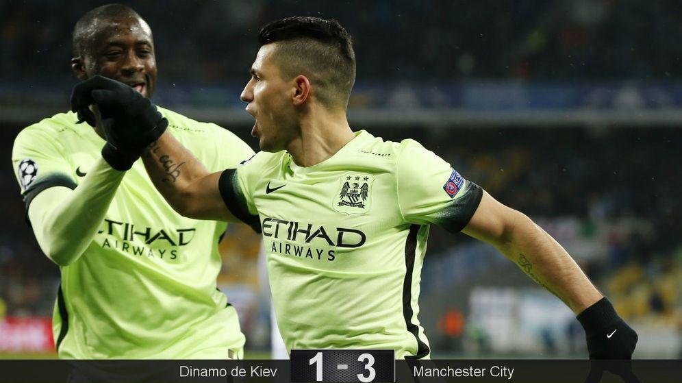 Foto: Toure y Agüero celebran el primer gol del Manchester City (Reuters)