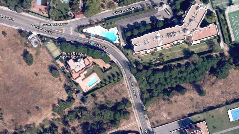 Foto: Vista aérea de la embajada de Corea del Norte. (Google Maps)