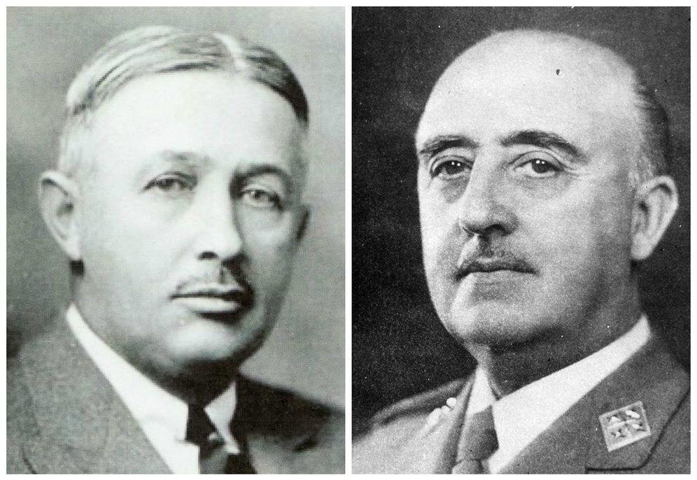 Foto: A la izquierda, Torkild Rieber. A la derecha, Francisco Franco. Como uña y carne.