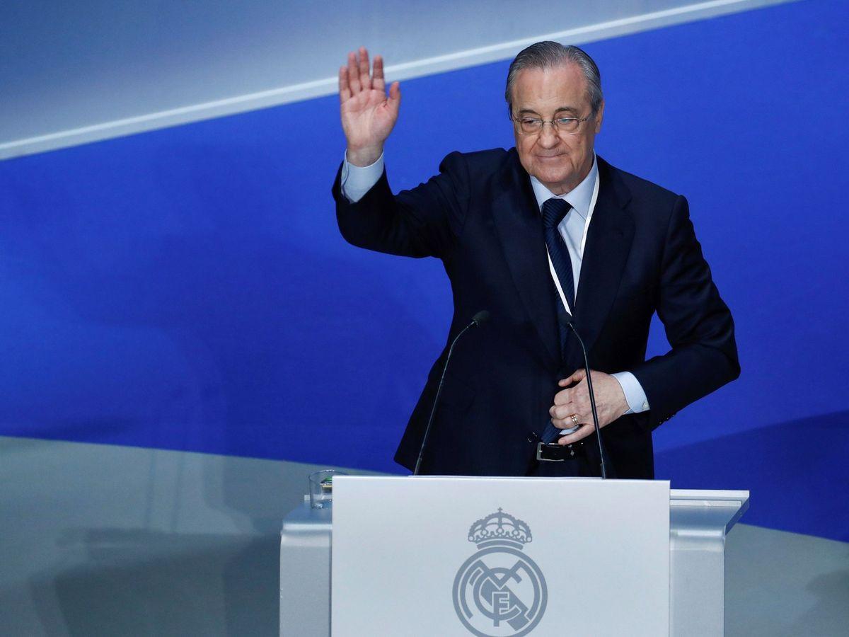 Foto: Florentino Pérez saluda a la Asamblea del Real Madrid. (EFE)