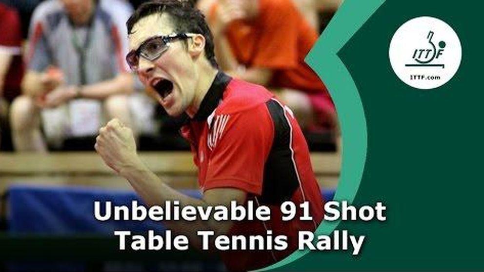 Espectacular punto en tenis de mesa