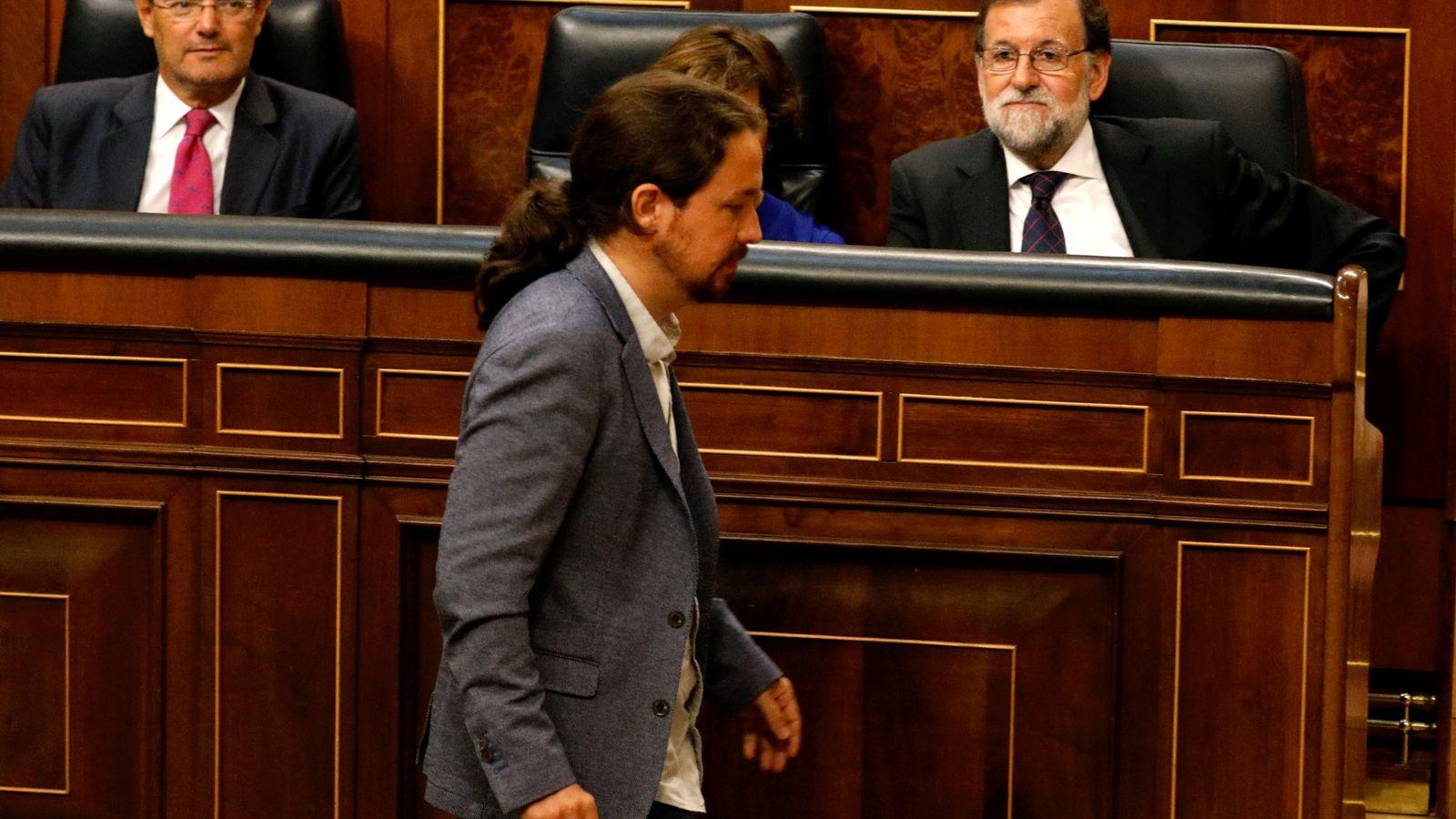 Foto: Pablo Iglesias y Mariano Rajoy, en el Congreso de los Diputados. (Reuters)