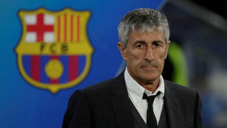 Setién, en un partido como técnico culé. (Reuters)