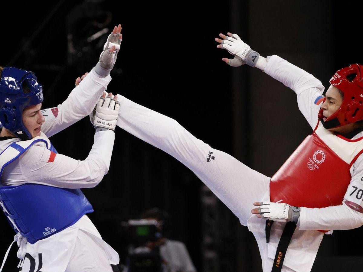 Foto: Combate de cuartos de taekwondo femenino -67 Kg en los Juegos de Tokio. (EFE)