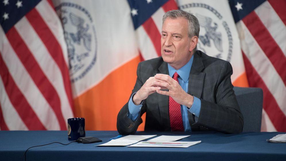 Foto: El alcalde de Nueva York, Bill de Blasio, en rueda de prensa sobre el coronavirus. EFE