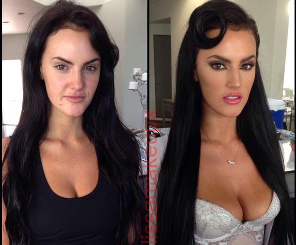 Foto: La actriz porno Ashleigh Hannah, antes y después de ser maquillada y peinada por  Melissa Murphy. (Twitter / @XmelissamakeupX)